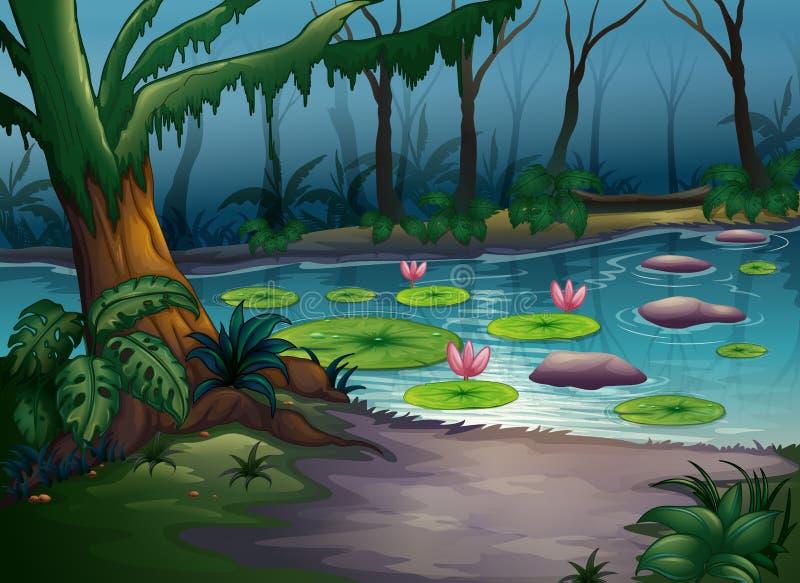 Um rio em uma natureza bonita ilustração royalty free