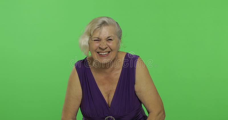Um riso idoso da mulher Sorrisos velhos da avó Chave do croma foto de stock