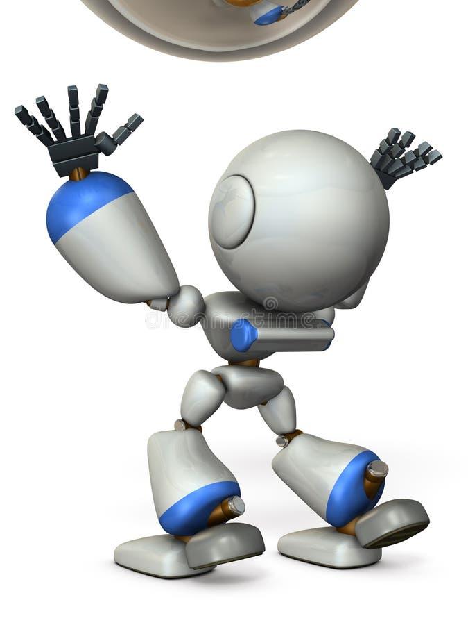 Um robô bonito está para travar algo ilustração do vetor