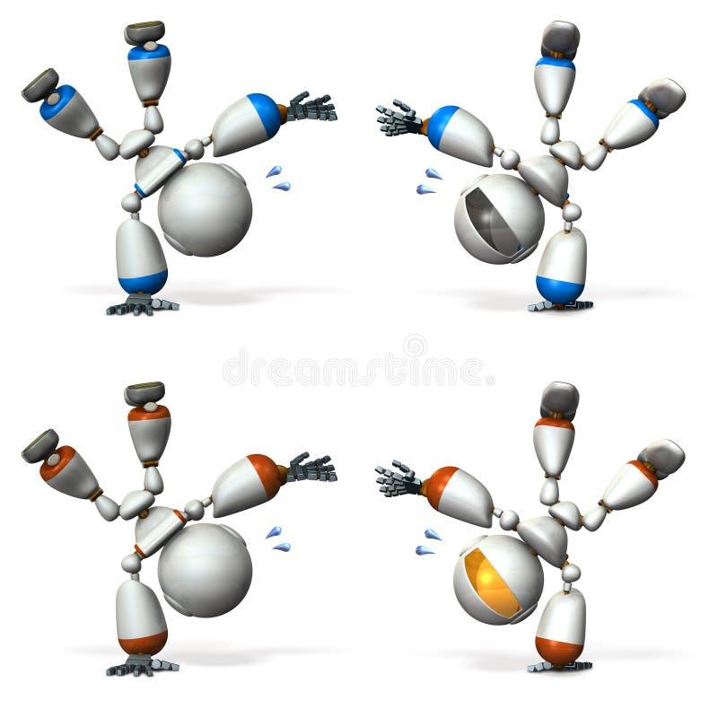 Um robô bonito que execute o desempenho da dança ilustração royalty free