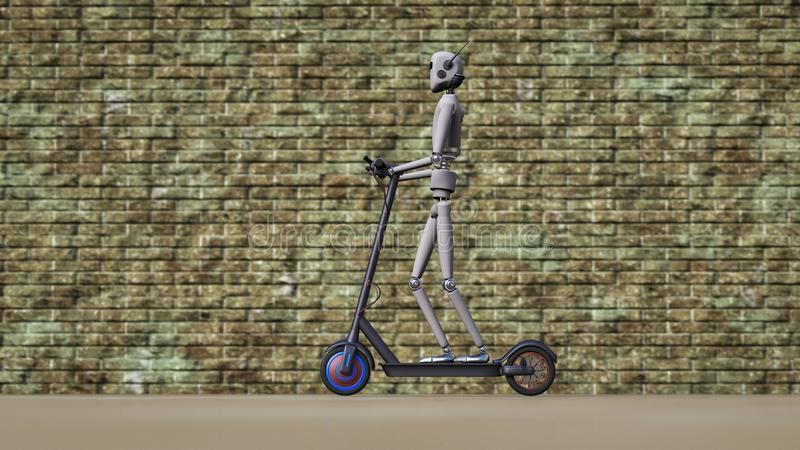 Um robô conduz no passeio com um 'trotinette' elétrico ilustração do vetor