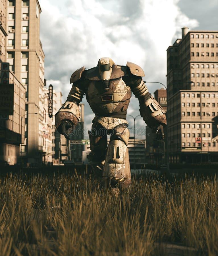 Um robô velho que anda na cidade abandonada ilustração do vetor