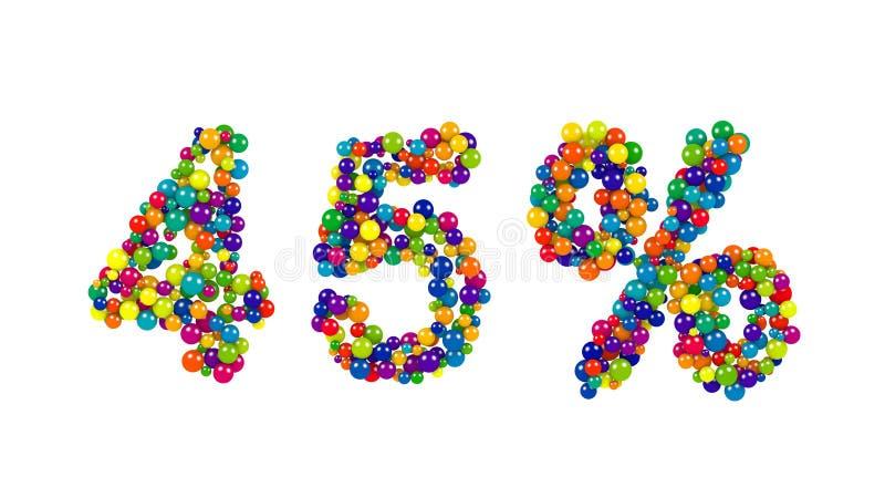 um símbolo de 45 por cento em cores dinâmicas brilhantes ilustração royalty free