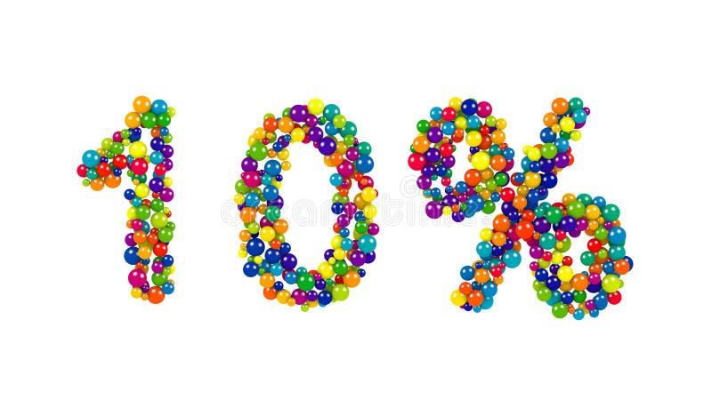 um símbolo de 10 por cento em esferas coloridos ilustração stock