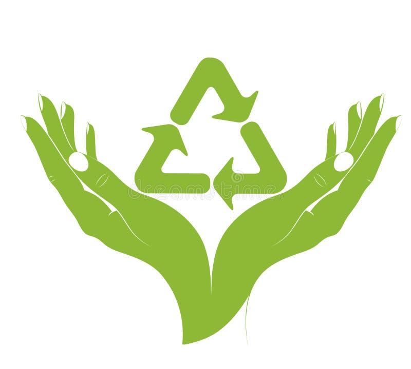 Um símbolo do recicl nas mãos fêmeas. Vetor. ilustração royalty free