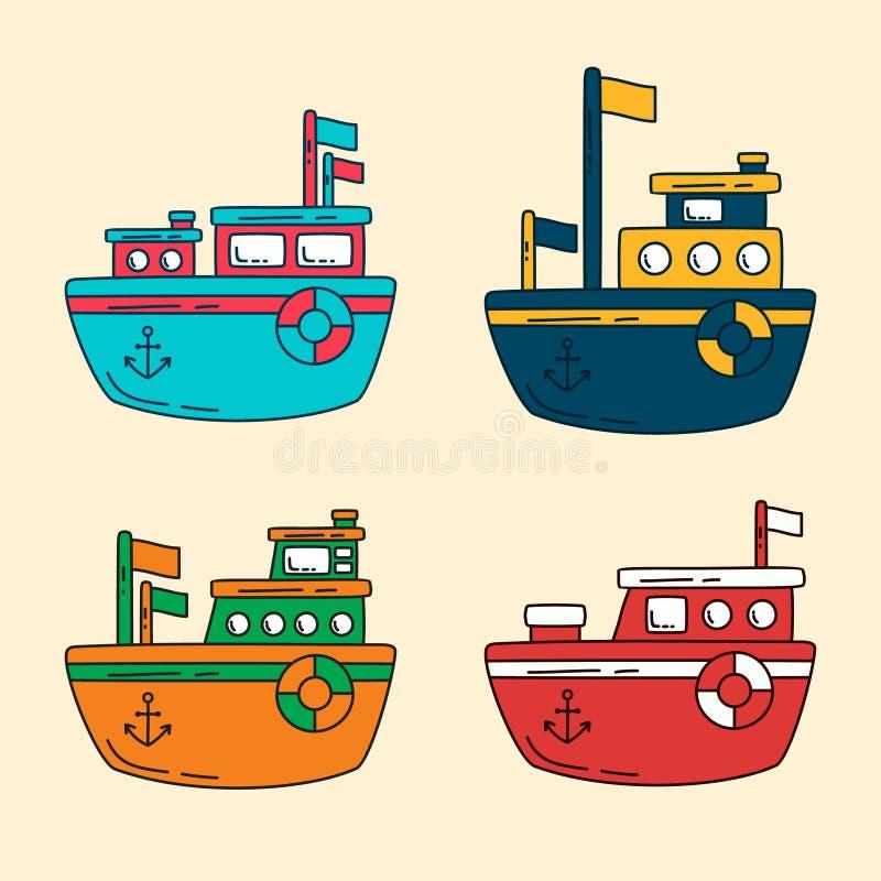 Um símbolo liso do ícone dos desenhos animados do navio do projeto colorido da coleção ilustração royalty free