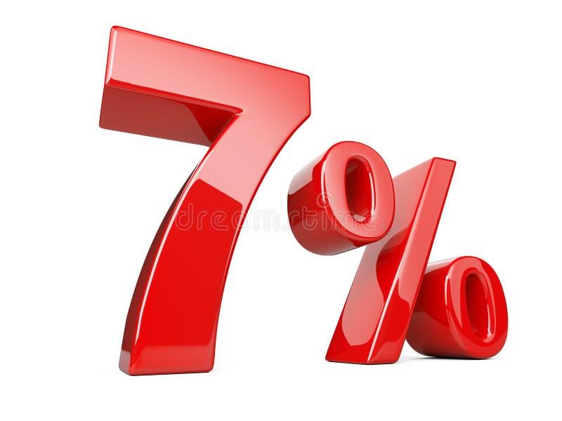 Um símbolo vermelho de sete por cento taxa de porcentagem de 7% Disco da oferta especial ilustração royalty free