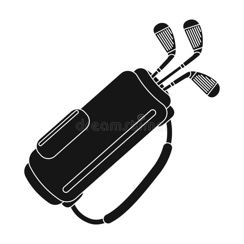 Um saco com clubes de golfe Ícone do clube de golfe único na Web preta da ilustração do estoque do símbolo do vetor do estilo ilustração stock