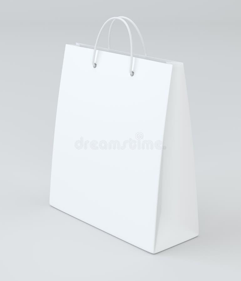 Um saco de compras branco clássico para anunciar e marcar ilustração do vetor
