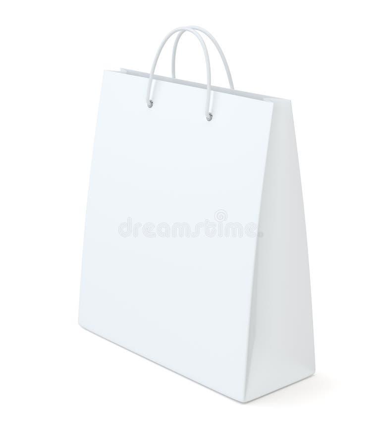 Um saco de compras branco clássico para anunciar e marcar ilustração royalty free