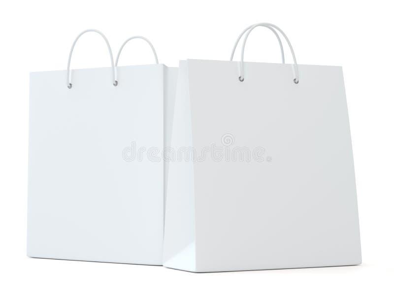 Um saco de compras branco clássico para anunciar e marcar ilustração stock