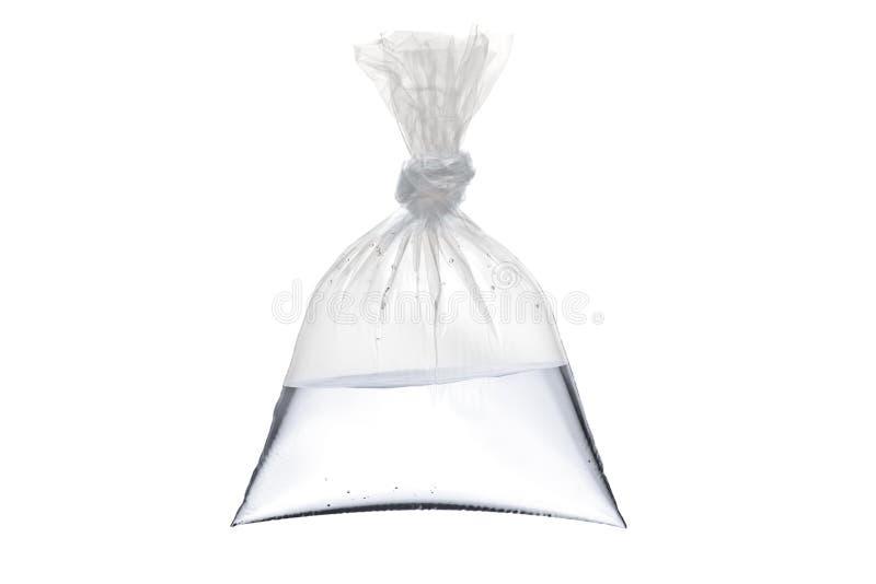 Um saco de plástico vazio com água fotografia de stock