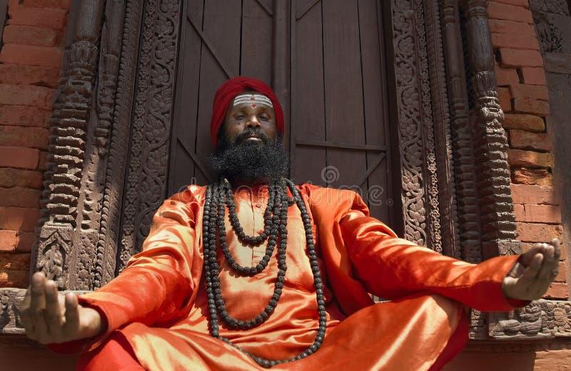Um Sadhu (homem santamente) em Kathmandu - Nepal foto de stock royalty free