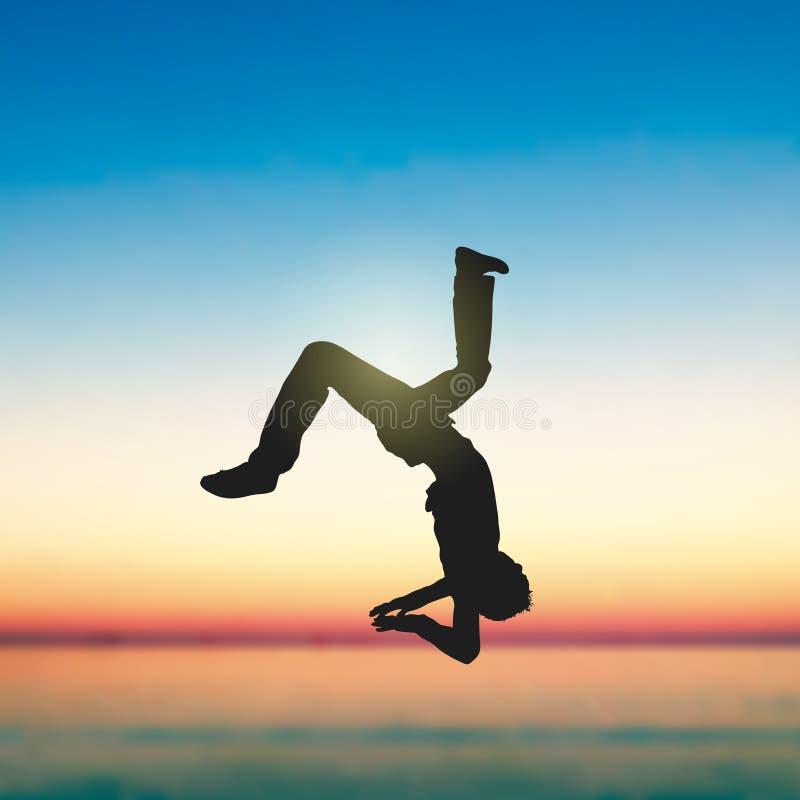 Um salto mortal do homem no beira-mar ilustração royalty free
