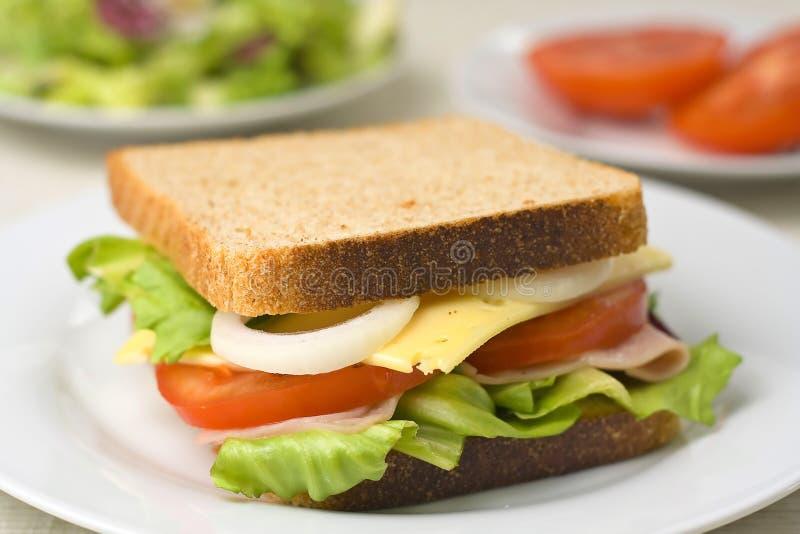 Um sanduíche delicioso e saudável imagens de stock