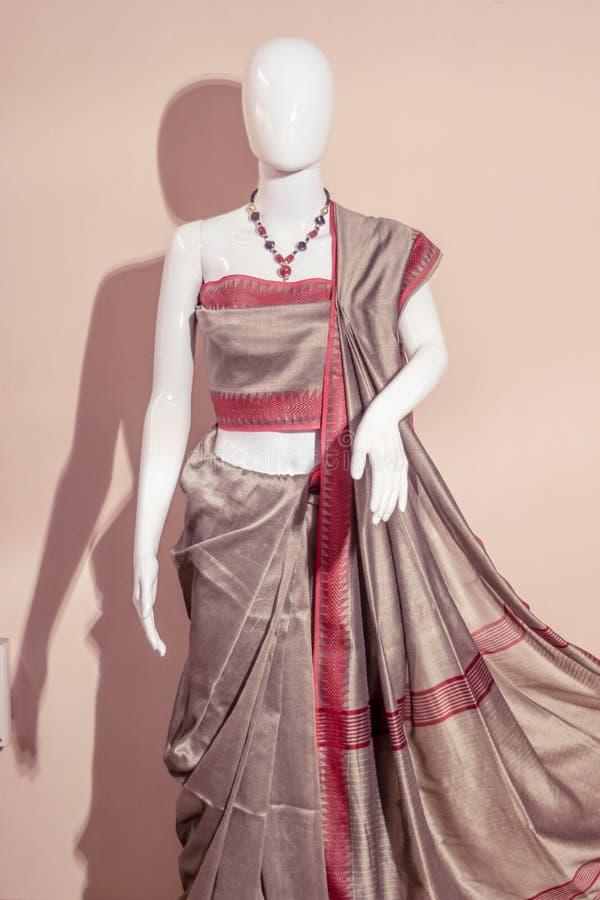 Um saree de seda indiano tradicional indicado para a venda fotografia de stock royalty free
