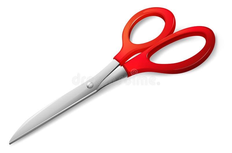 Um scissor com um punho vermelho ilustração do vetor