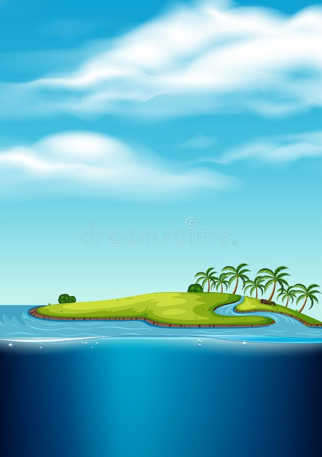 Um Seascape abandonado da ilha ilustração royalty free