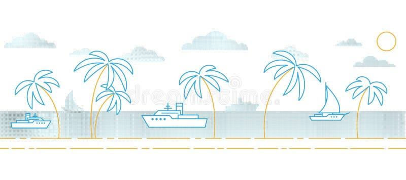 Um seascape minimalistic simples ilustração do vetor