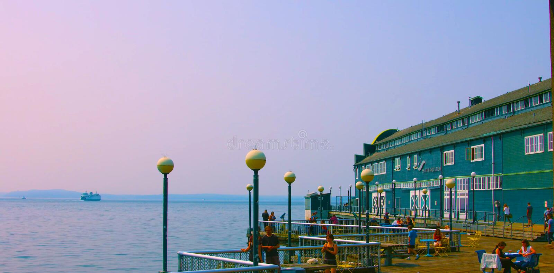 Um seattle, América, baía, azul, construção, construções, cidade, arquitetura da cidade, baixa, lazer, luzes, natureza, panorama, imagens de stock