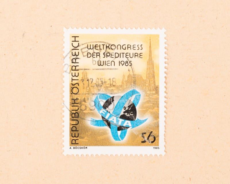 Um selo impresso em Áustria mostra o congresso da expedição do mundo em Viena, cerca de 1985 imagem de stock royalty free
