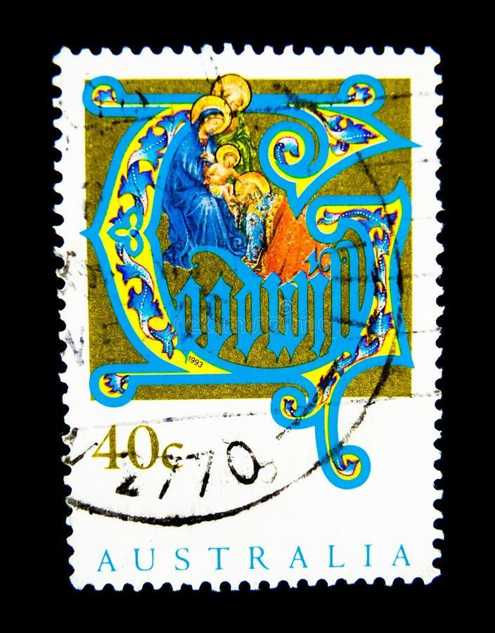 Um selo impresso em Austrália mostra uma imagem do nascimento de Cristo no valor no centavo 40 imagem de stock