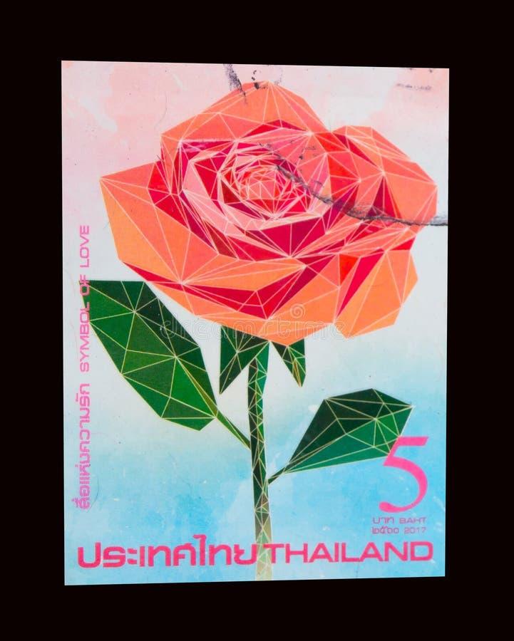 Um selo impresso em Tailândia mostra uma imagem da flor cor-de-rosa da laranja bonita foto de stock royalty free