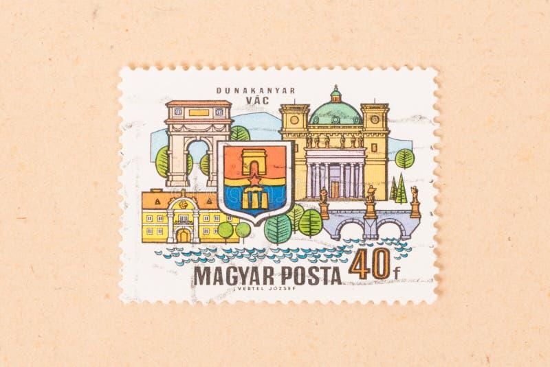 Um selo impresso nas mostras Dunakanyar VAC de Hungria, cerca de 1970 fotos de stock