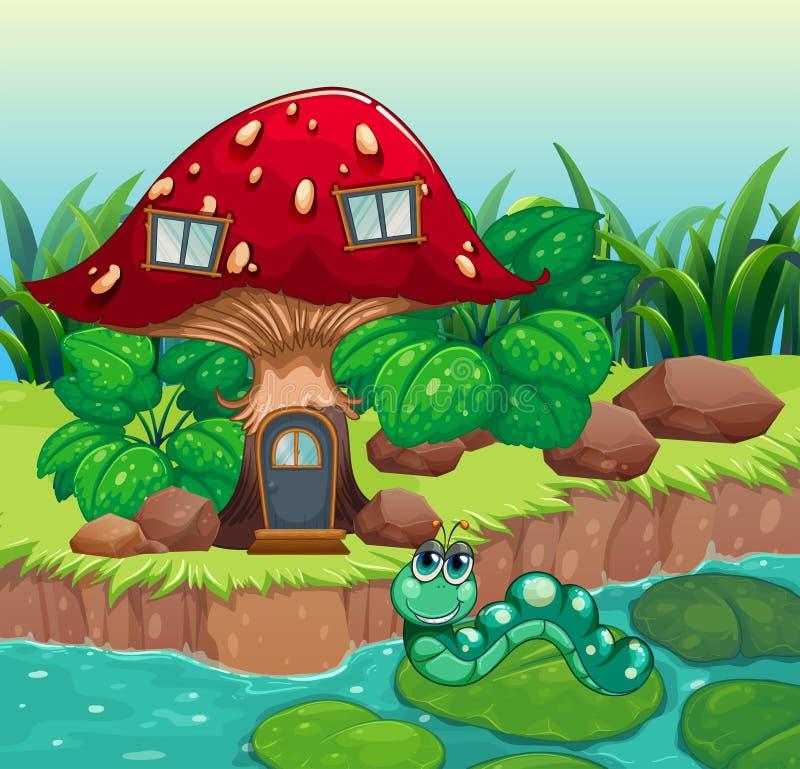 Um sem-fim perto da casa vermelha do cogumelo ilustração do vetor