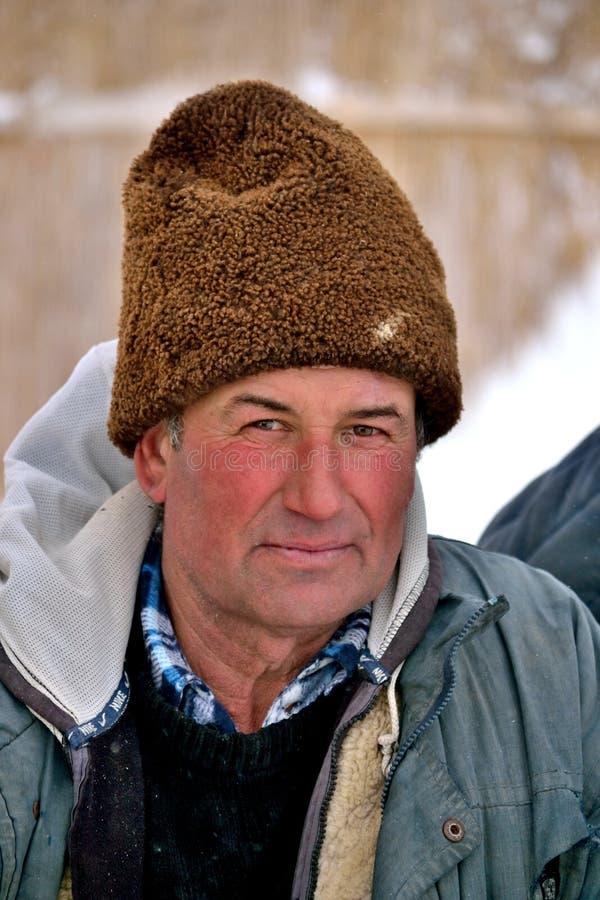 Um shepard durante o inverno imagens de stock