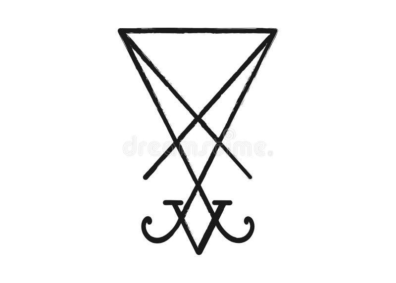 Um sigil de Lucifer O Grunge denominou a ilustração afligida do demonologia: O sigil de Lucifer isolou-se Sigil de Lucifer do dia ilustração royalty free