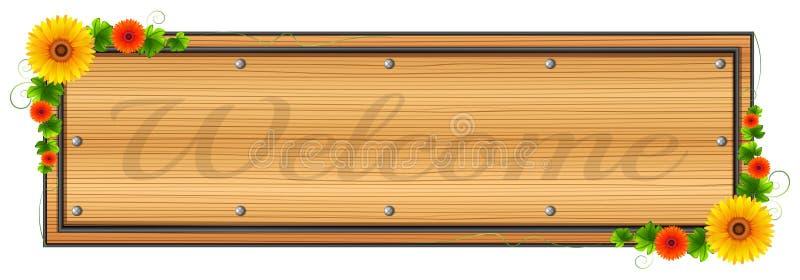 Um signage bem-vindo de madeira ilustração royalty free