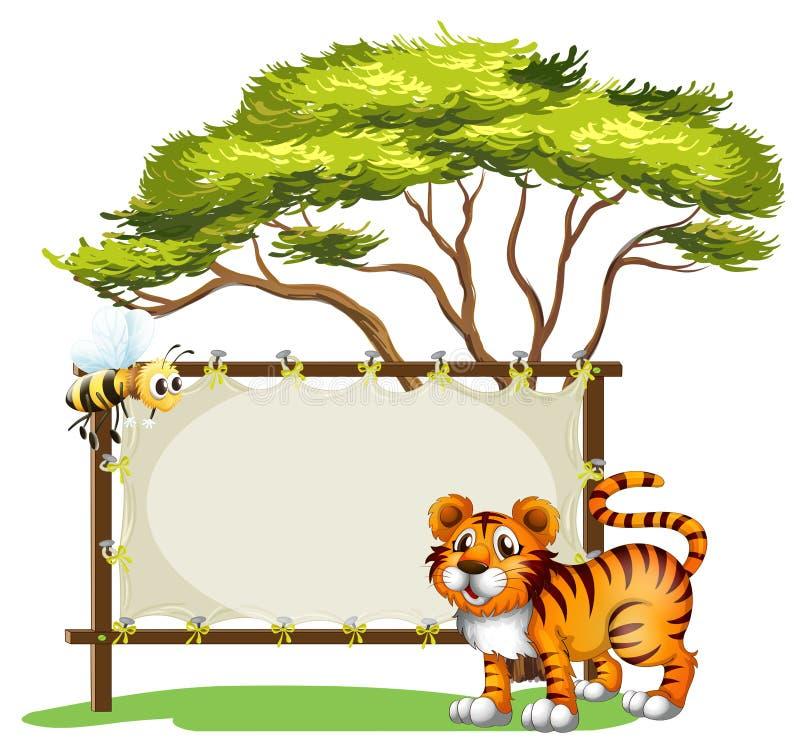 Um signage vazio com animais ilustração do vetor