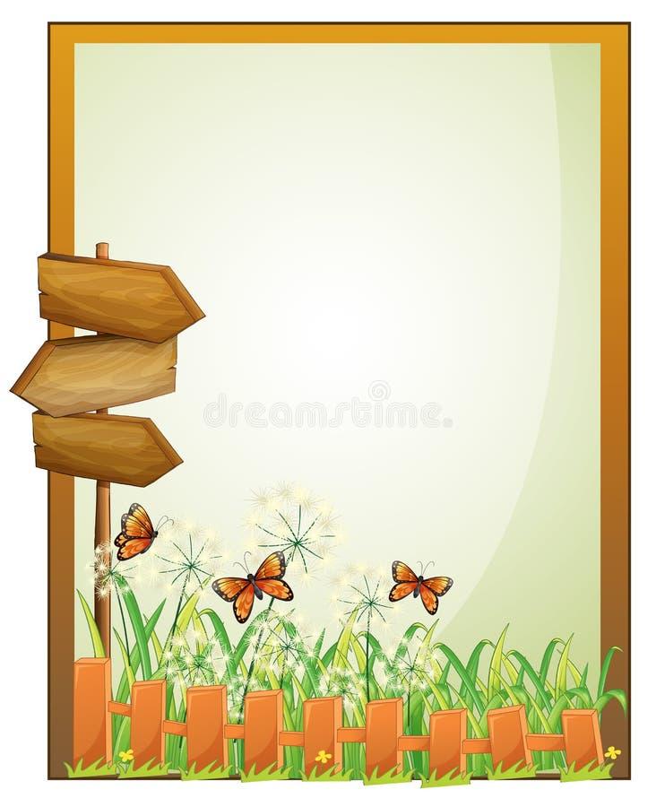 Um signage vazio quadro com arrowboards de madeira ilustração royalty free