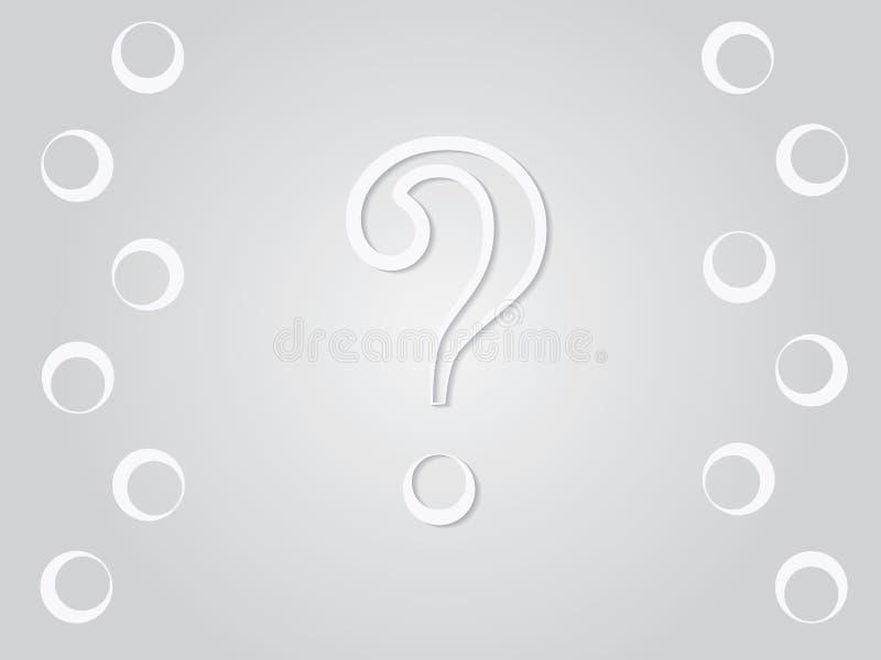 Um sinal branco do ponto de interrogação para a pergunta na ilustração cinzenta do vetor do fundo ilustração stock