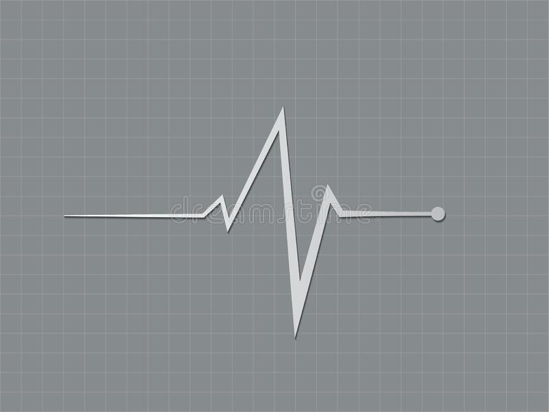 Um sinal cinzento ou preto e branco do batimento cardíaco que indica no monitor do cardiógrafo à condição de coração do diagnósti ilustração do vetor