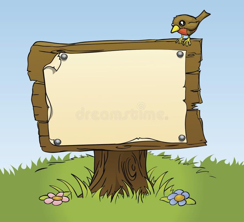 Um sinal de madeira rústico ilustração royalty free