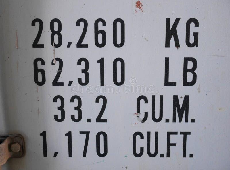 Um sinal e uma etiqueta da descrição no recipiente de frete imagem de stock
