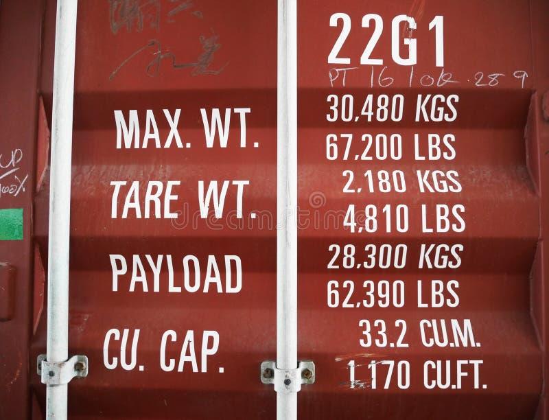 Um sinal e uma etiqueta da descrição no recipiente de frete foto de stock royalty free