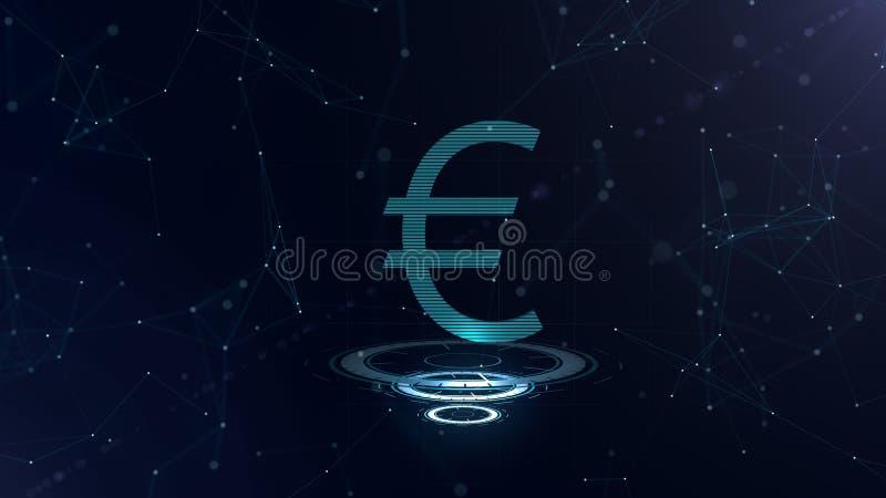 Um sinal magnífico do Euro 3d Contexto azul do Cyberspace do espaço com conexões a Internet A moeda do Euro está em três virtuais ilustração stock