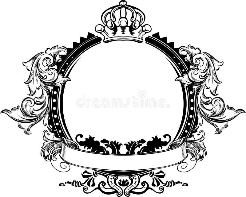 Um sinal ornamentado do vintage da coroa da cor ilustração do vetor