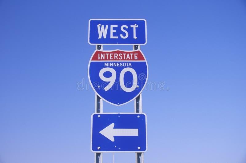 Um sinal para 90 de um estado a outro ocidentais foto de stock