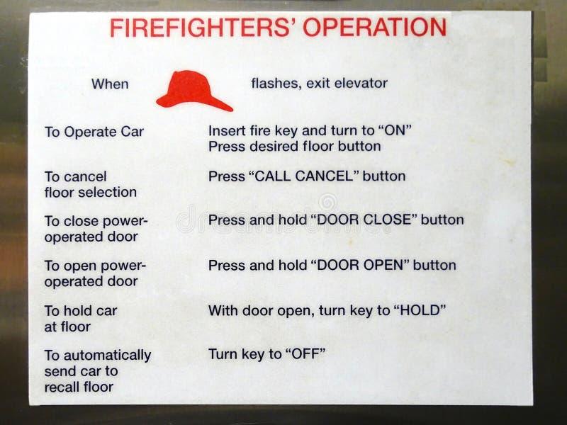 Um sinal que descreve o método de operação que os bombeiros devem usar imagens de stock royalty free
