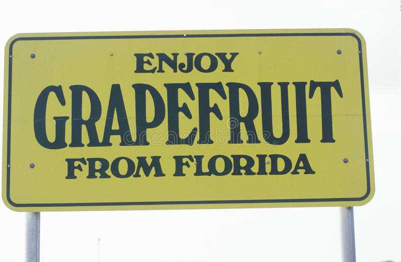 Um sinal que leia o ½ do ¿ do ï aprecia a toranja do ½ do ¿ de Floridaï imagens de stock