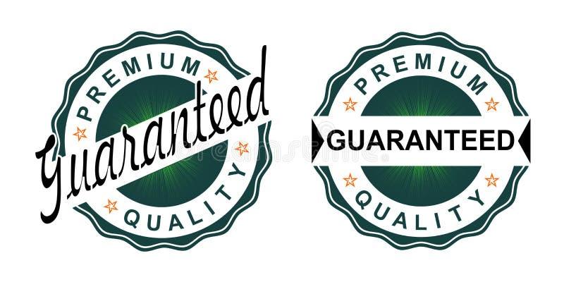 Um sinal redondo da cor preta com um matiz verde com o texto da garantia de qualidade ilustração stock