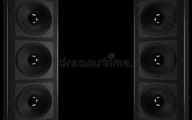 Um sistema estereofónico audio poderoso. ilustração do vetor