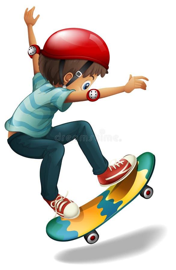 Um skateboarding pequeno do homem ilustração royalty free