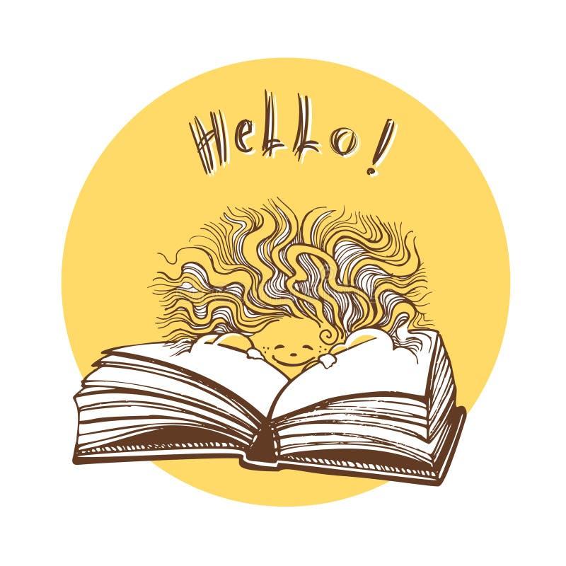 Um sol de sorriso olha para fora atrás de um livro aberto Nunca pare de ler Ilustração desenhada mão do vetor ilustração do vetor
