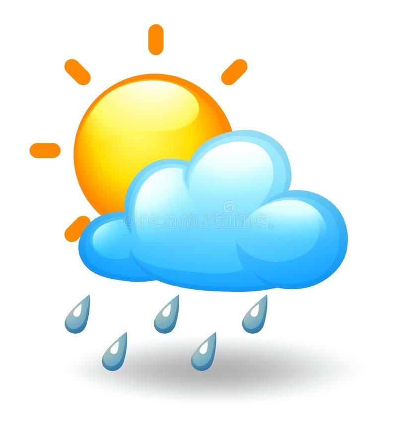Um sol e uma nuvem ilustração do vetor