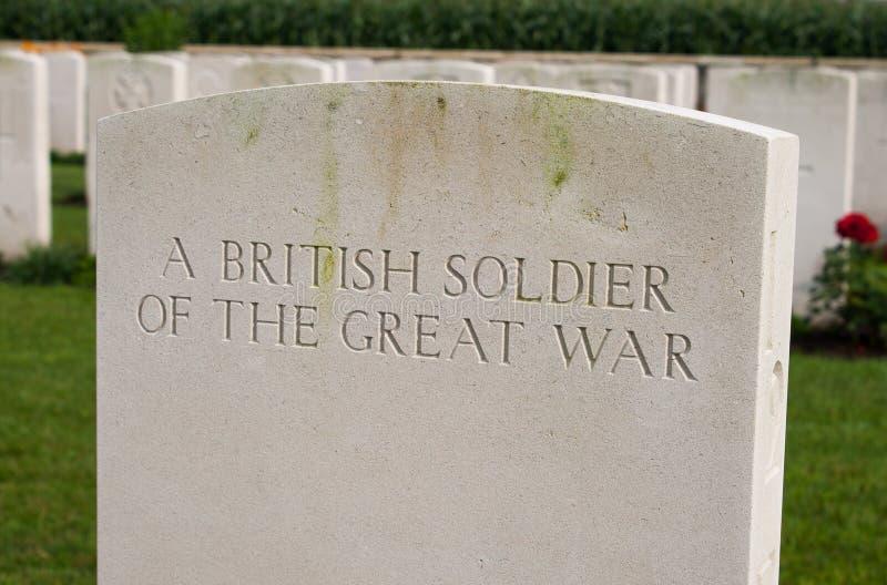 Um soldado britânico da grande Primeira Guerra Mundial imagem de stock